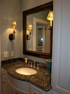 This is her vanity, note the birds on the sconces.