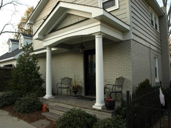 Matching entry porch on the garage apartment/home office.