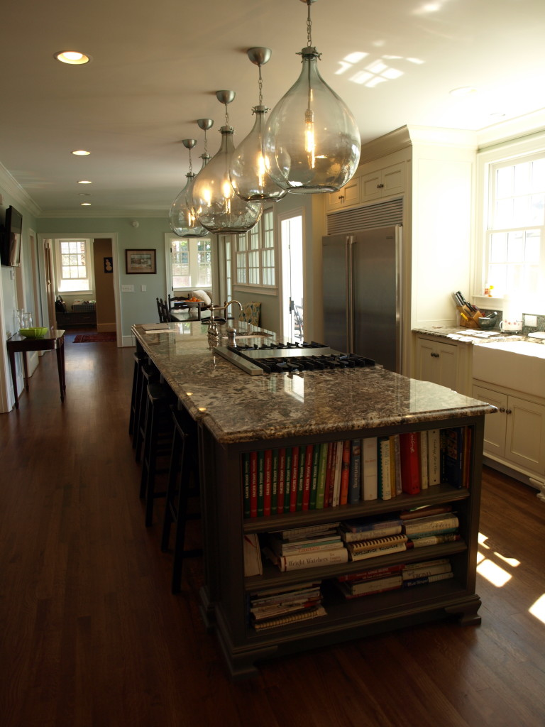 Amazing island in this very functional kitchen, with view to breakfast room and mudroom beyond.