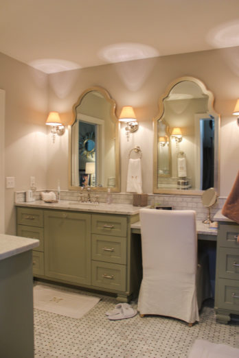 This bathroom was carved out of the oversized master bedroom along with an 8 x 10 addition for the tub and toilet room.