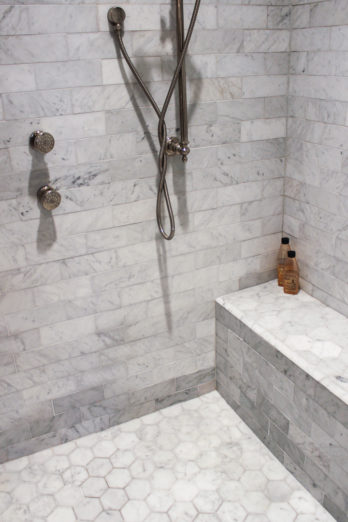 The shower was formerly the husband's not-quite walk-in closet.
