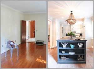 The wall between the formal dining room and the kitchen was removed to make an open kitchen with lots of natural light.