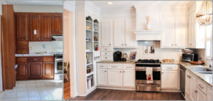 Such a miraculous change, the white cabinetry is so welcoming and cozy.