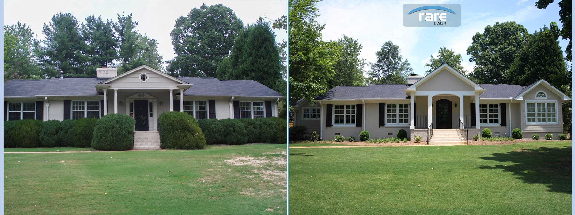 ranch style house remodel before and after home redesign Greenville Home Remodeling