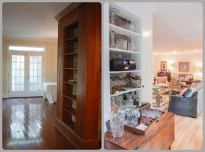 A bookcase on the side of the fireplace was turned into a little bar off the formal dining room.