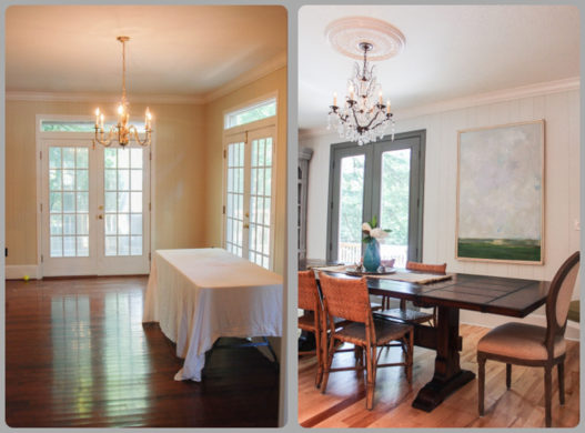 The new formal dining room; off the kitchen and on the other side of the fireplace in the living room.