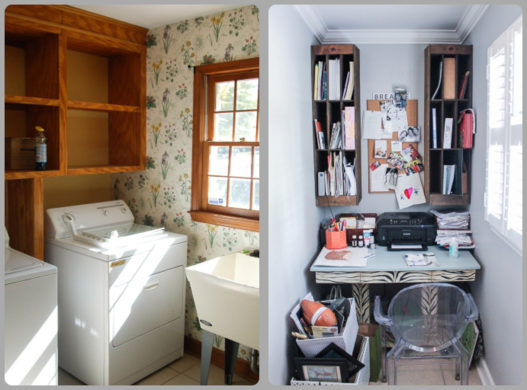 An outdated laundry room was divided and turned into a lovely hide-away office space for mom's headquarters.