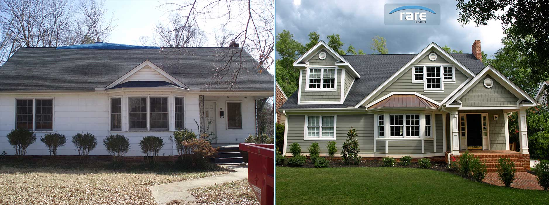 Greenville Home Remodel Rare Design Before And After Kupersmith Front Elevation
